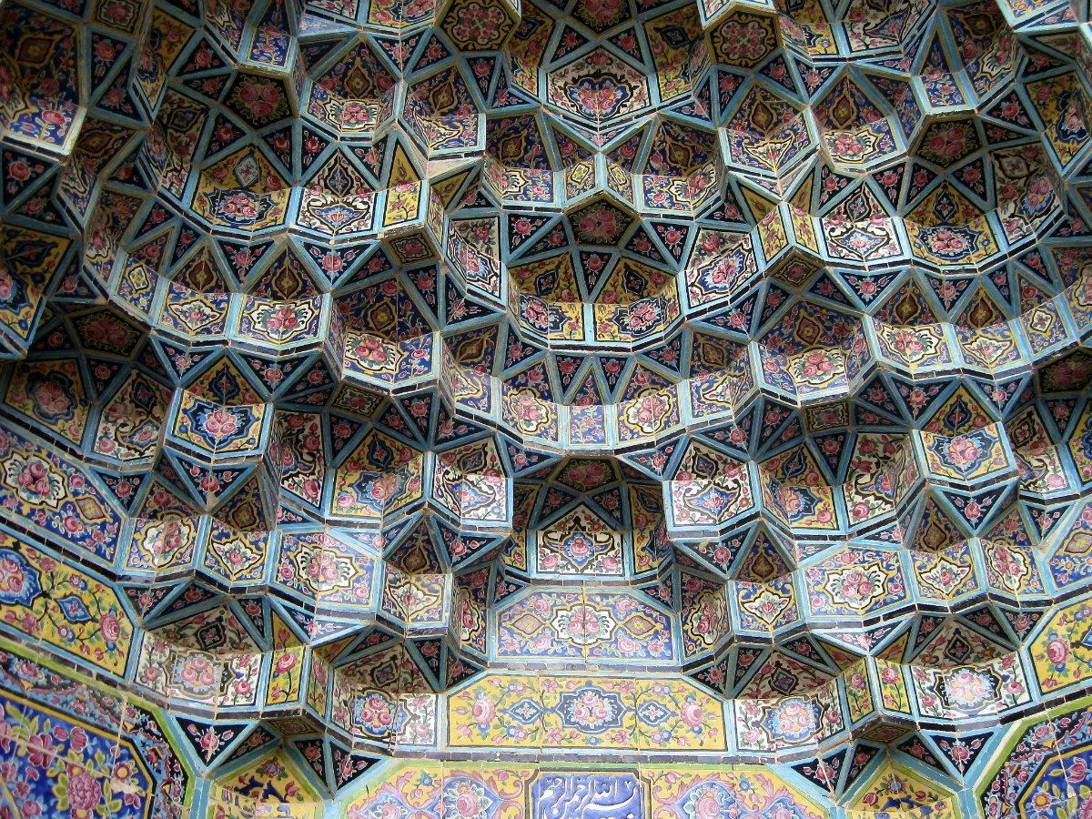 Détail de la mosquée rose de Shiraz en Iran