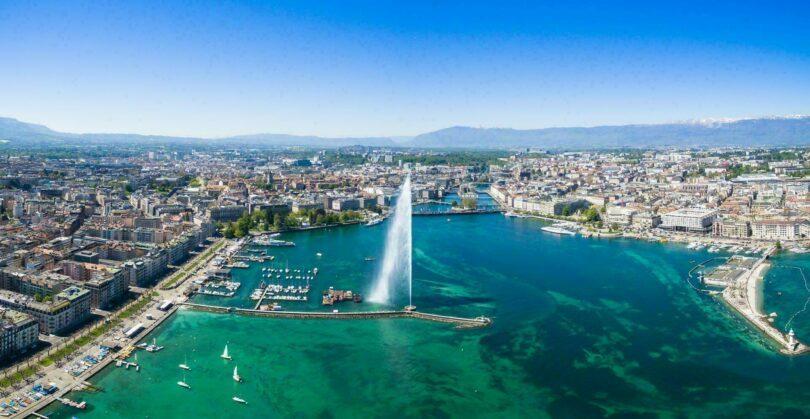 Genève, vue sur lac (Suisse)
