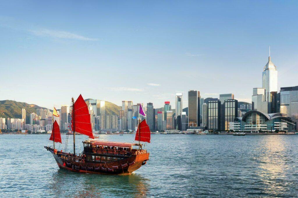 Hong Kong bateau skyline ville