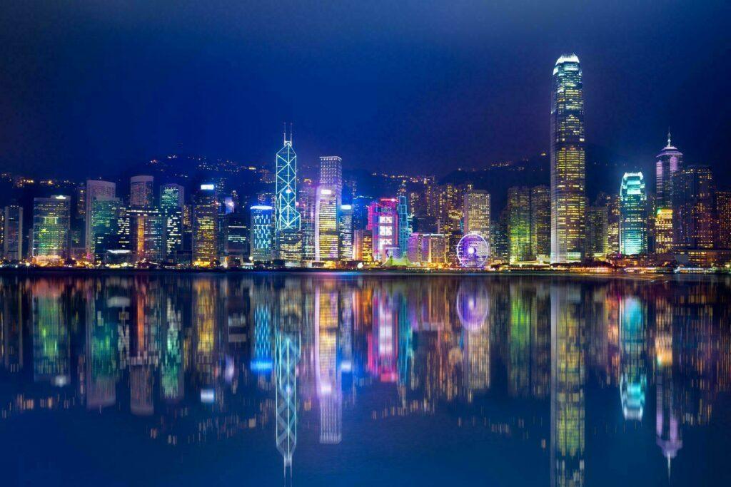 Hong Kong Island skyline la nuit