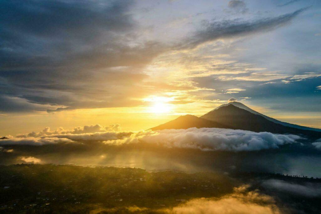 Bali vue paysage lever soleil