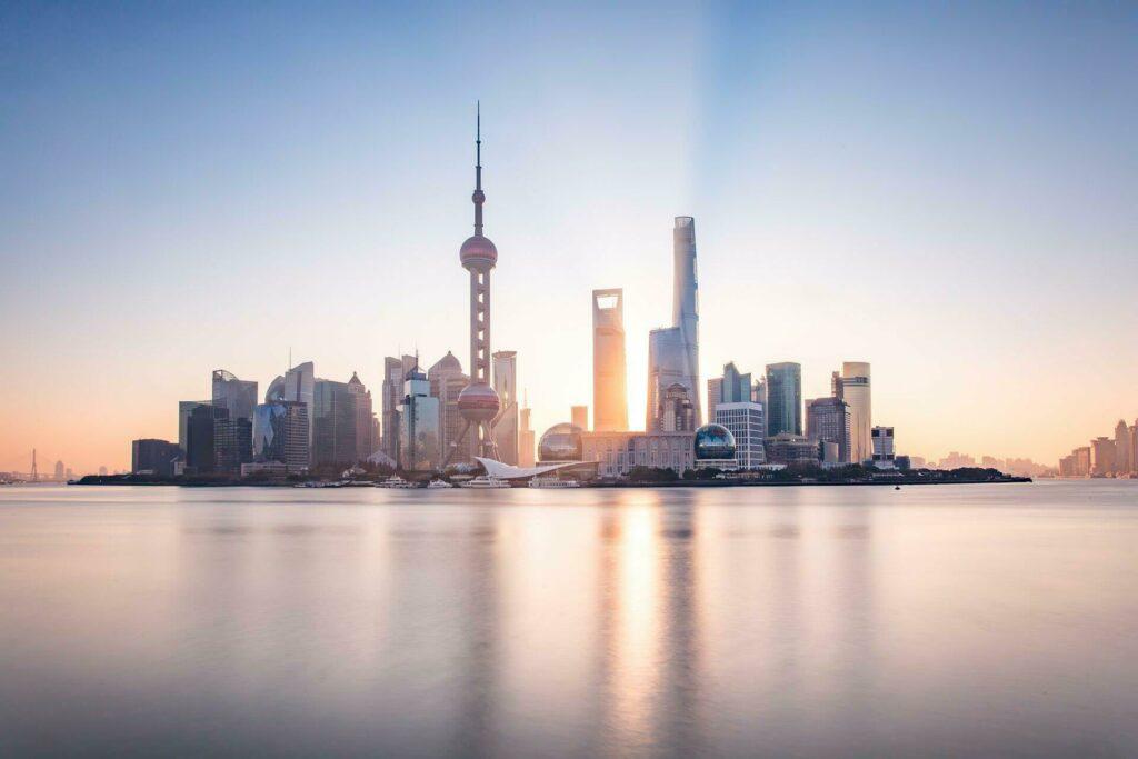 Shanghai skyline lever soleil