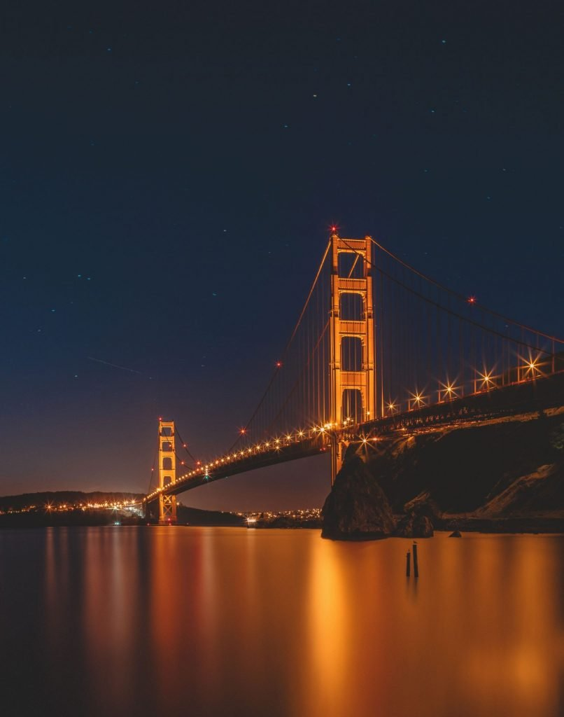 La golden gate bridge de nuit