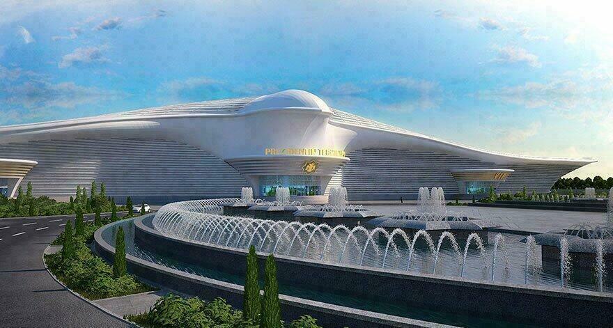 Aéroport d'Ashgabat en forme de faucon