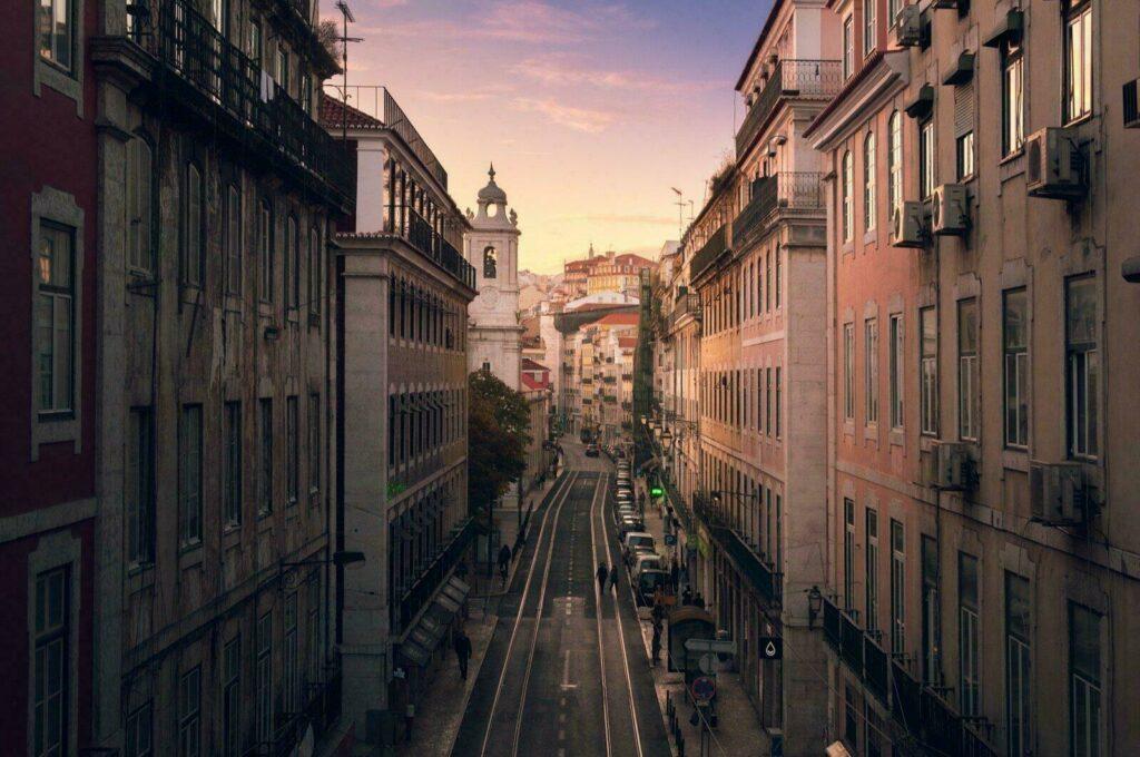 Centre de Lisbonne au coucher de soleil