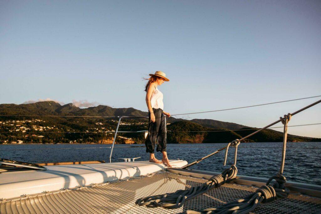Coucher de soleil sur le bateau