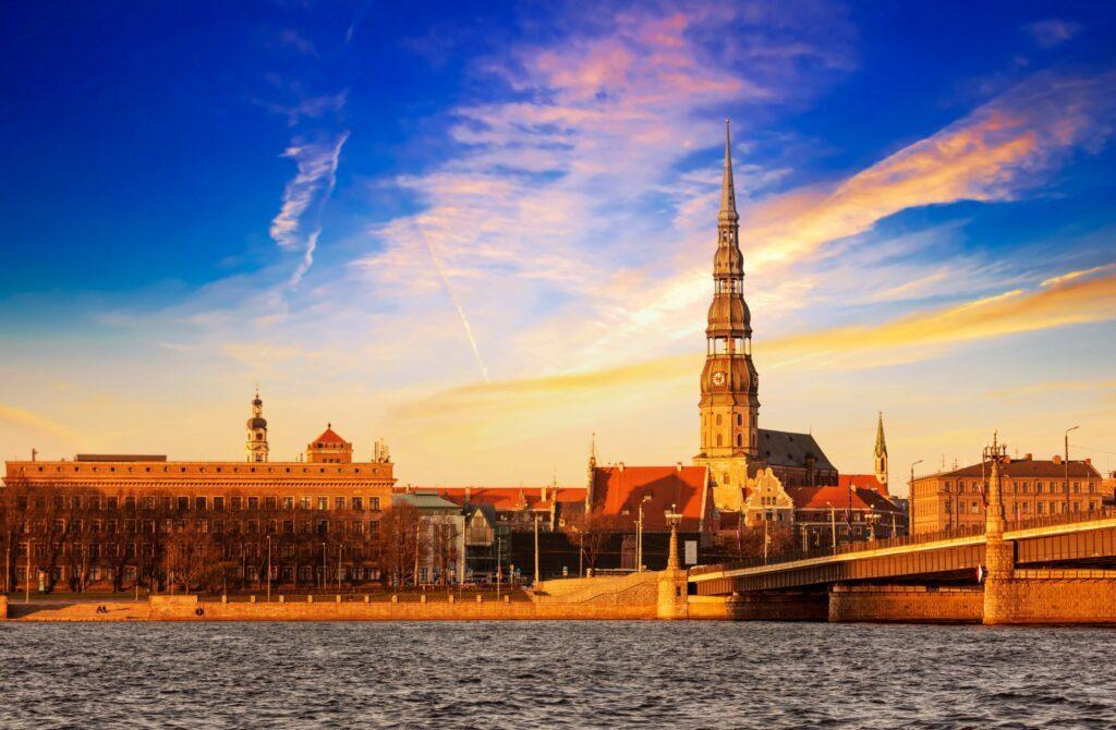 coucher de soleil sur Riga
