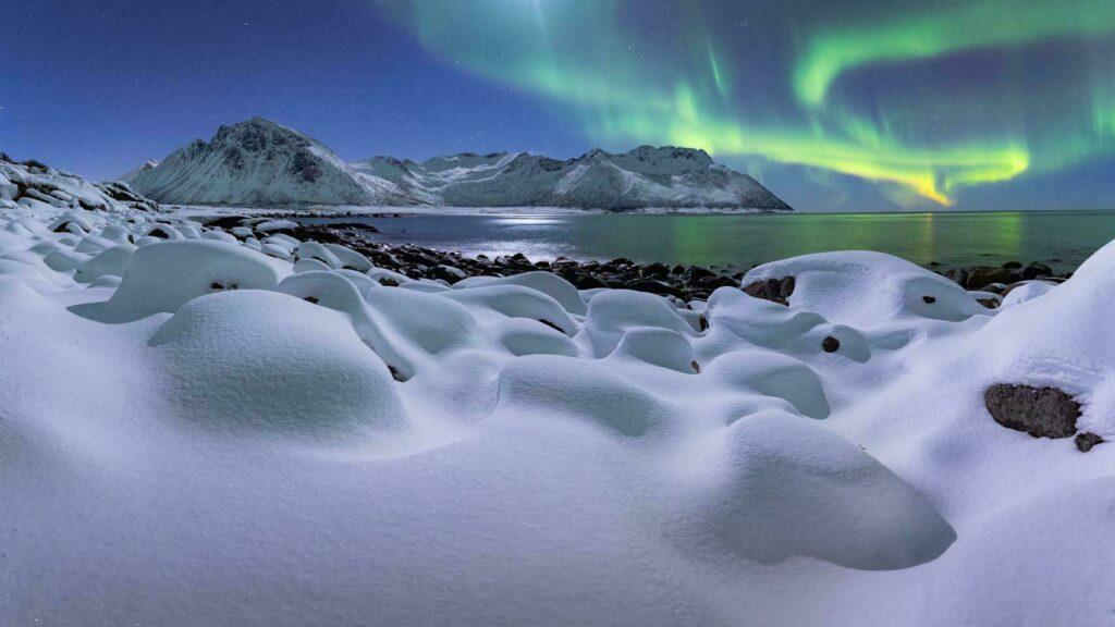 Laponie hiver norvege Pepite Beach paysage aurore boreale