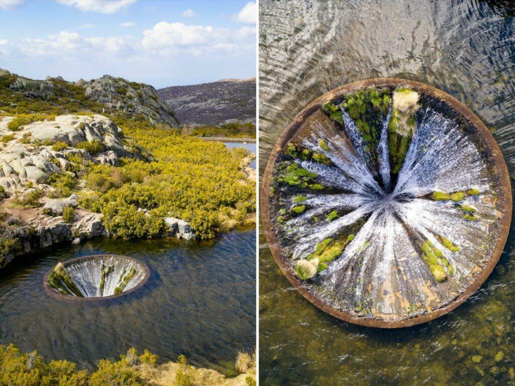 Photo de voyage d'un trou dans un lac au Portugal