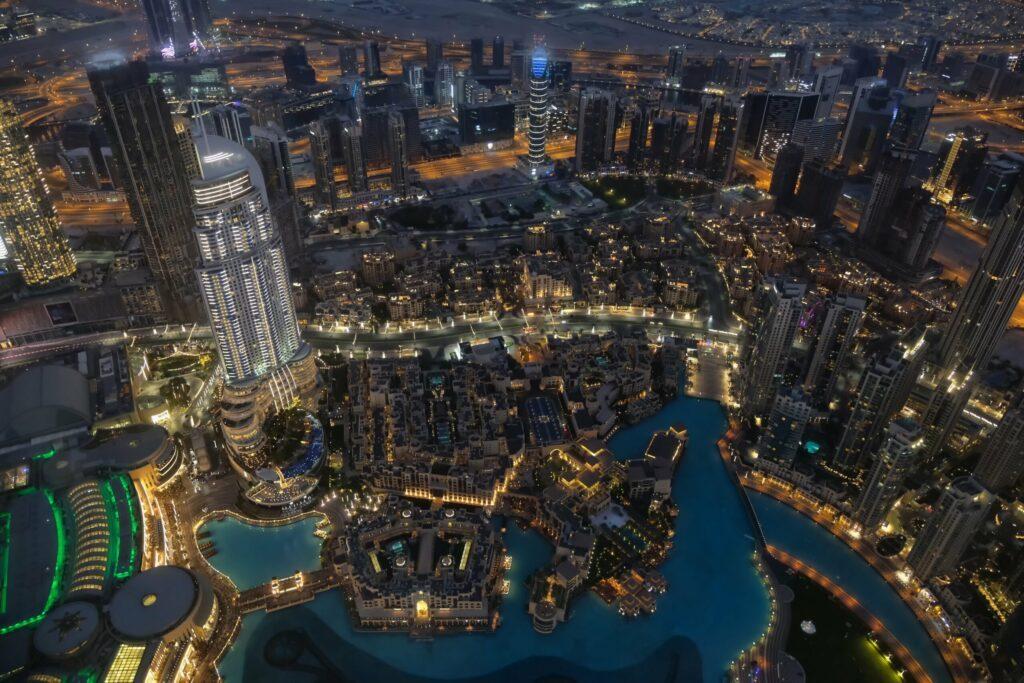 la vue de nuit Dubaï