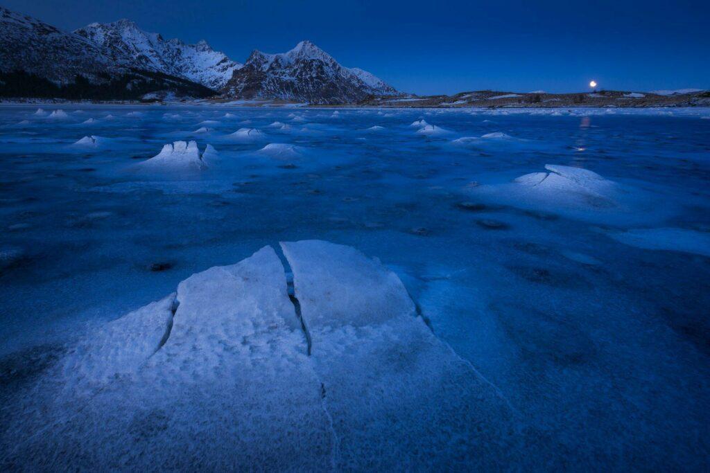 Leknes dans les Lofoten en hiver