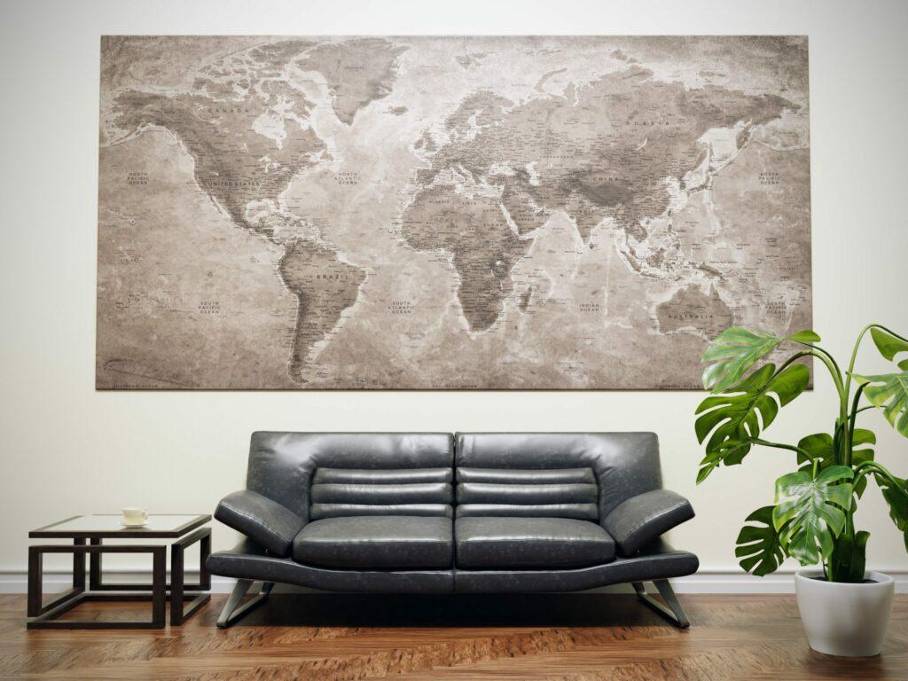 carte du monde déco voyage